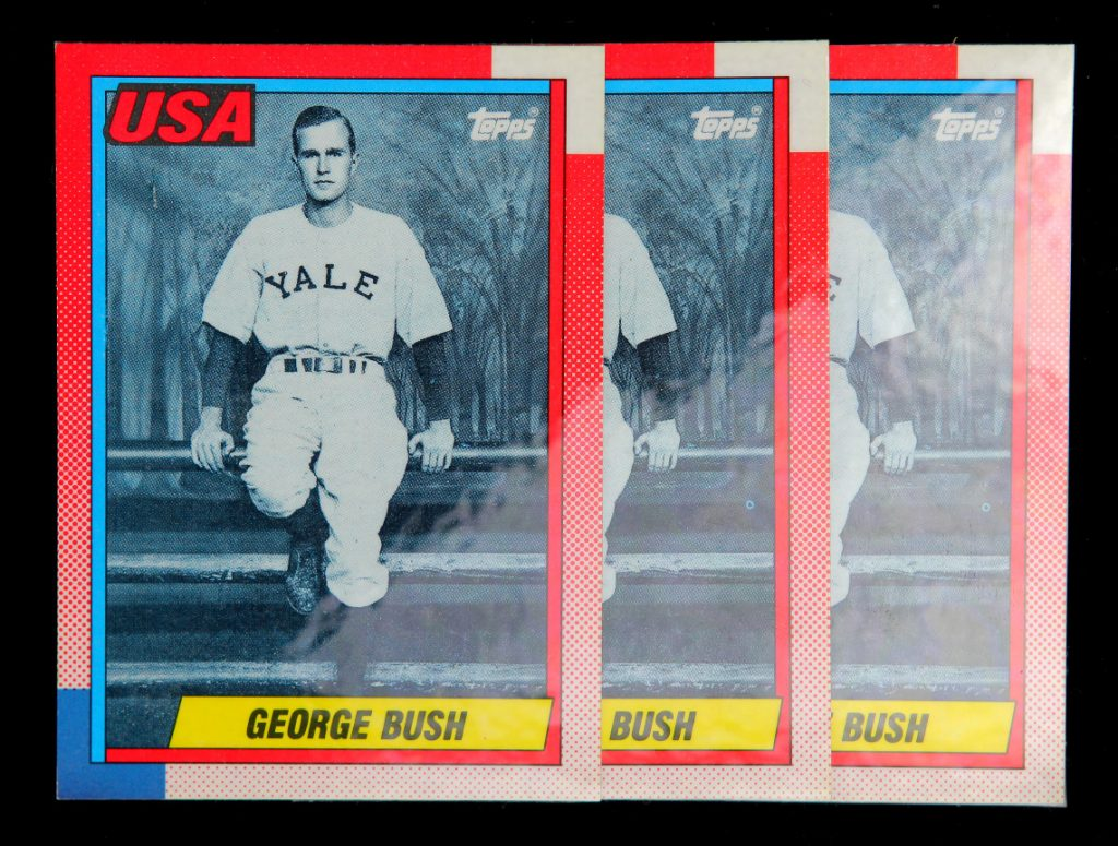 1990 Topps George Bush card with coating