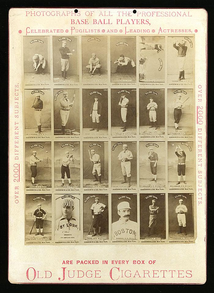 1887 Old Judge baseball cards store advertising