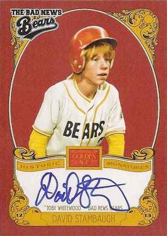 David Stambaugh autograph Bad News Bears
