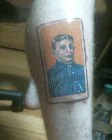 Honus Wagner tattoo on leg