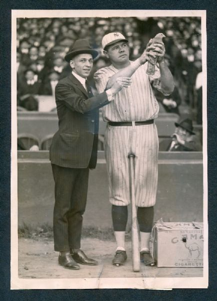 1921 Babe Ruth with bird photograph