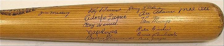 1945 Giants team signed bat