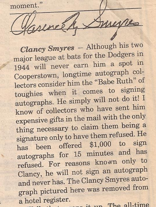 Autograph Clancy Smyres Brooklyn Dodgers