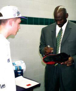 Signing shoes Michael Jordan