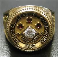 Bart Giamatti rings Cardinals 1987 NL Chammpionship