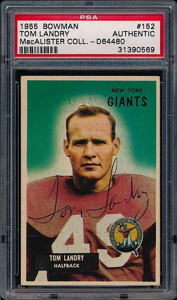 Tom Landry 1955 Bowman signed card