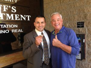 Former Charger and Hall of Famer Lance Alworth with Encinitas Sheriff's Station Detective Jaime Rodriguez