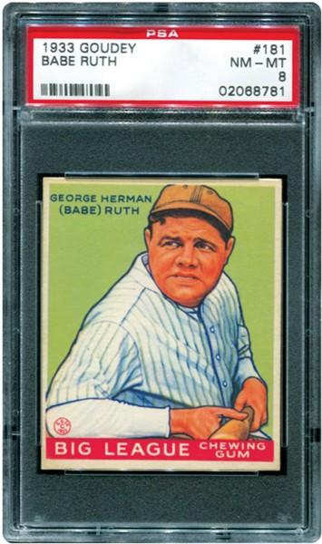Babe Ruth Goudey baseball card PSA 8