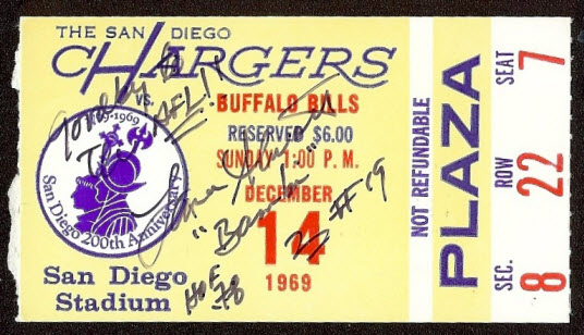 1969 ticket Chargers Bills Alworth record game