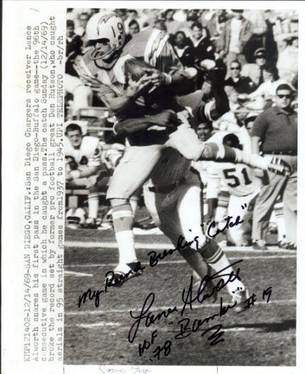 1969 Lance Alworth Chargers wire photo