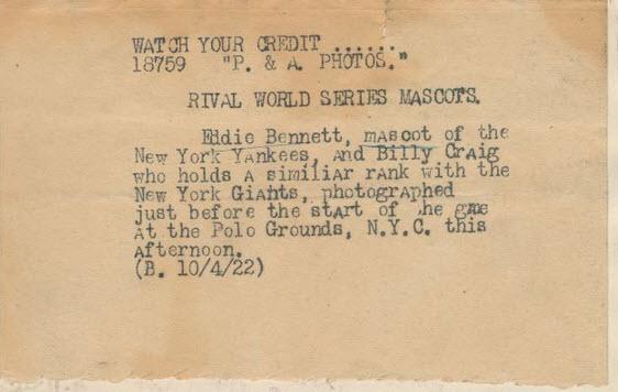Caption of 1922 Eddie Bennett photo