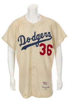 1957 Dodgers home jersey Don Newcombe