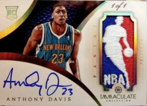 Anthony Davis autograph patch card Panini Immaculate