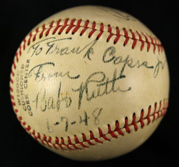 Autographed Babe Ruth ball Frank Capra Jr