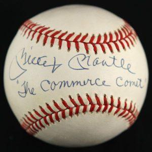 Autographed Mickey Mantle baseball Commerce Comet