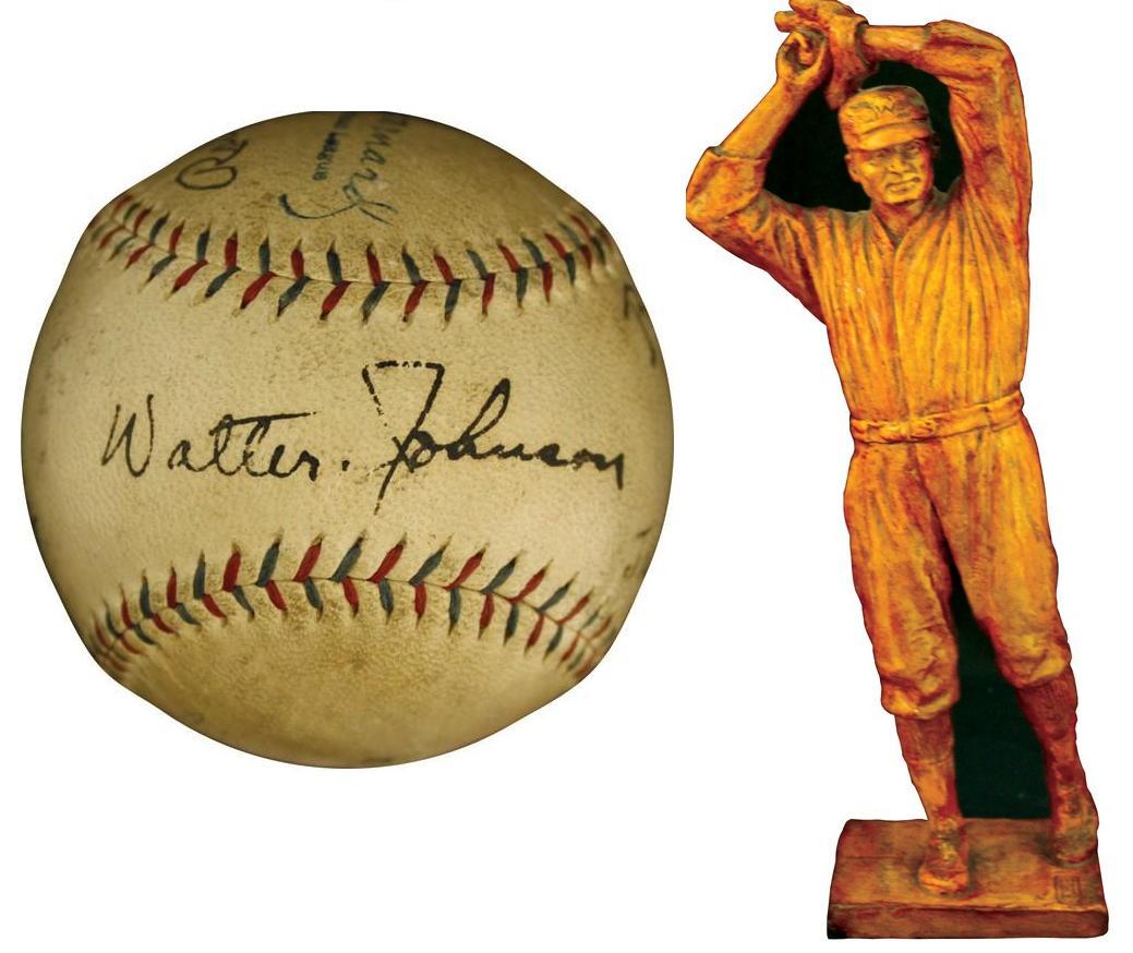 Signed Walter Johnson baseball statue