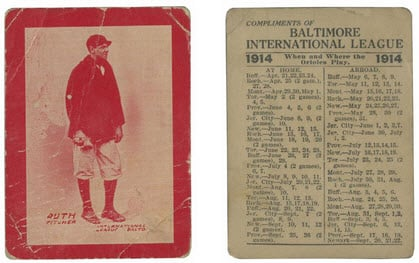 Red 1914 Babe Ruth rookie card