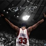 Autographed Patrick Ewing picture arms outstretched