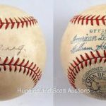 Autographed Lou Gehrig sweet spot ball