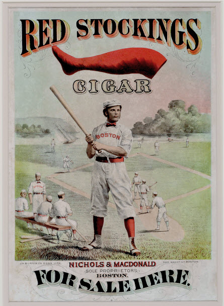 George Wright 1874 Red Stocking Cigars Advertising Poster