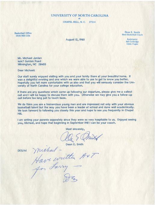 Michael Jordan North Carolina recruiting letter