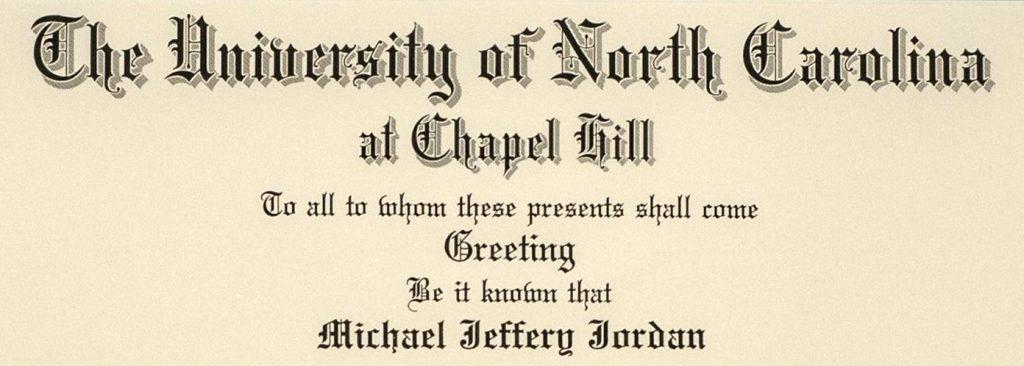 North Carolina University diploma Michael Jordan