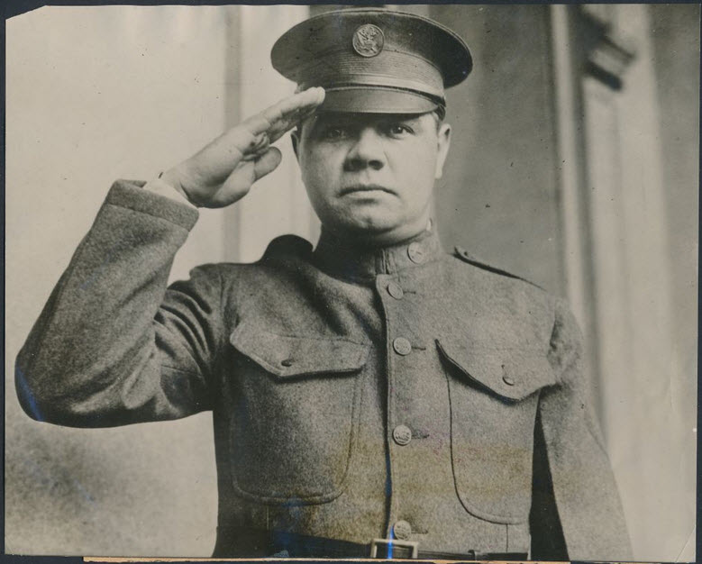 Salute from Babe Ruth 1924 Army uniform
