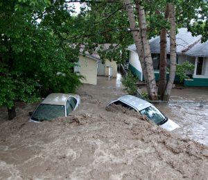 Cars in flood Alberta 2013