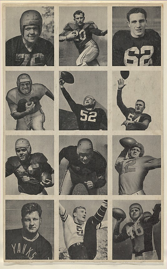 Bowman Gum Company Sheet of 12 uncut football cards, from the Bowman Football series (R407-1) issued by Bowman Gum, 1948 American,  Commercial color lithograph; Sheet: 10 in. × 6 1/4 in. (25.4 × 15.8 cm)