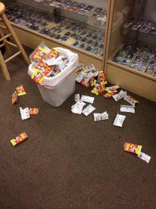 Remnants of pack ripping at Baseball Card King