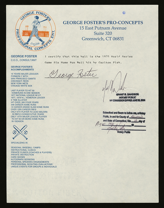 Letter George Foster 1975 World Series home run ball