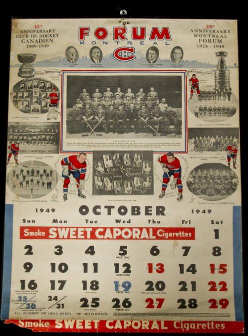 1949 Canadiens calendar