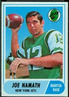 Joe Namath 1968 Topps card