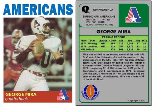 WFL George Mira card