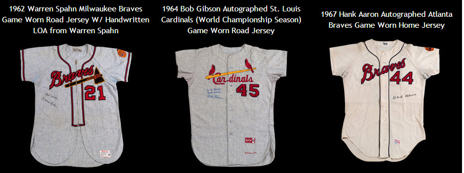 Spahn Gibson Aaron game jerseys