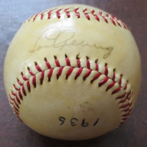 Lou Gehrig signed baseball