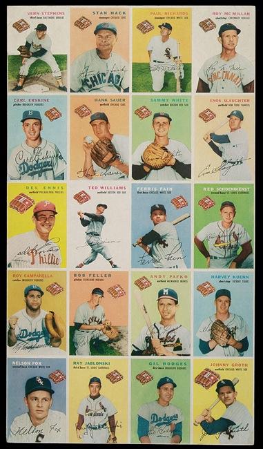 1954 Wilson Franks uncut sheet set