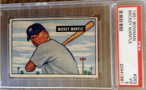 PSA 3 Mickey Mantle 1951 Bowman