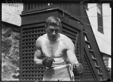 Reprint of an early 1900s Bain News Service photo of boxer Billy Wells