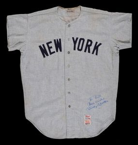 Game worn Mickey Mantle road jersey