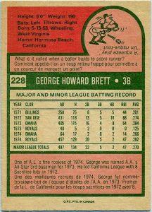 1975 OPC George Brett rookie card