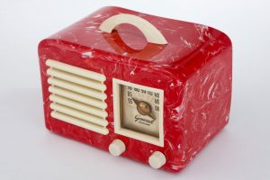 Vintage Catalin radio with a marbled texture
