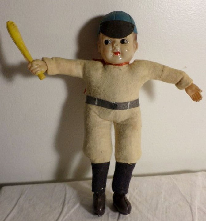 Antique Celluloid and cloth baseball player doll