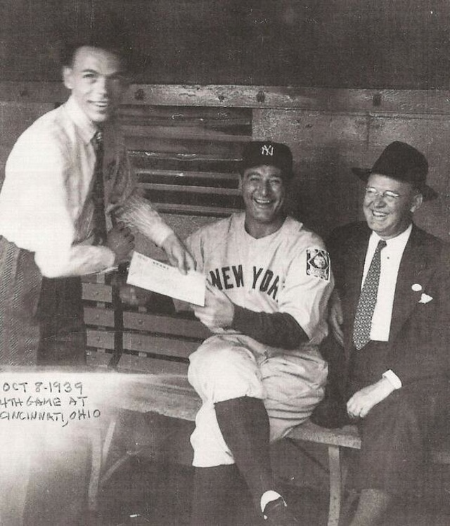 Lou Gehrig autograph Frank Sinatra Paul O'Leary