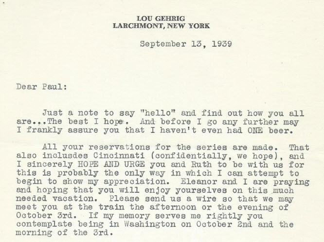 Lou Gehrig letter