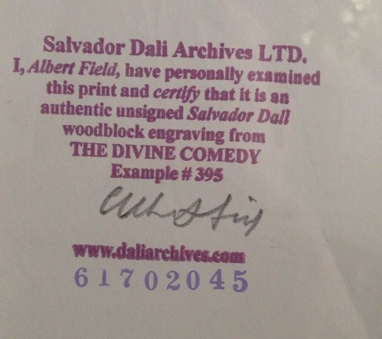 Stamp and signature on the back of a Salvador Dali print from his official archivist, Albert Field (1986-2003).  As an internationally known Dali expert, his stamp raises the resale value.