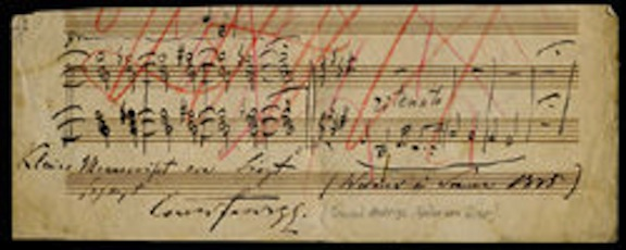 Franz Liszt handwritten musical notes with identifying note at bottom from Conrad Ansorge.  Ansorge was Liszt's former piano student and went on to be become a noted compuser and music professor in his own right.