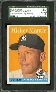 1958 Topps card once owned by Mickey Mantle.  The famous ownership raises the value.  (Courtesy of Belltownvintagecards.com)