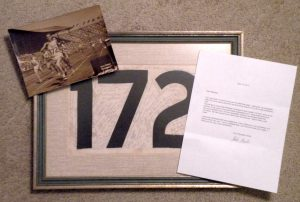 1948 London Olympics middle distance runner Herbert Barter race worn number autographed by 45 Olympic team members, with Barte signed letter and photo of him wearing the same number. (Courtsey of  Michael Bowlby)