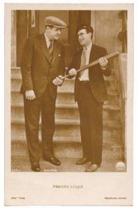 circa 1930 real photo postcard of baseball star Babe Ruth with silent movie star Harold Lloyd